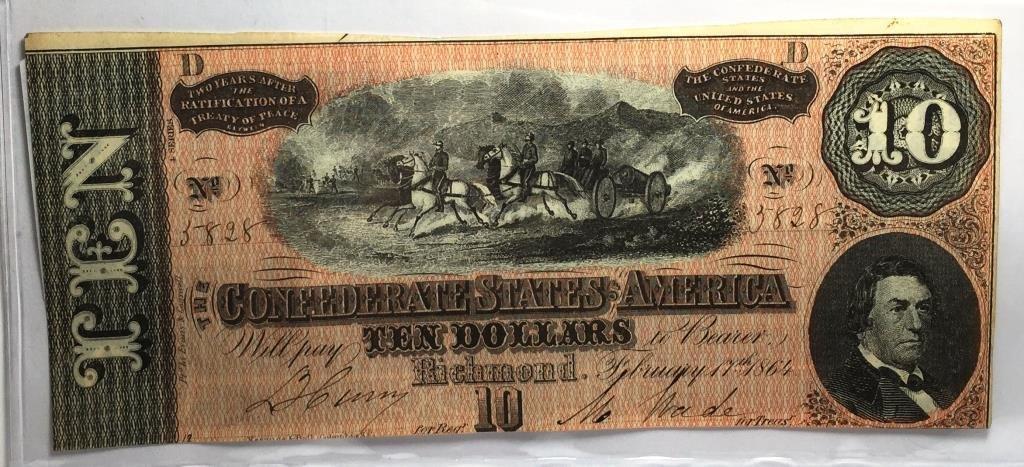 1864 $ 10 Confederate Currency CU Grade