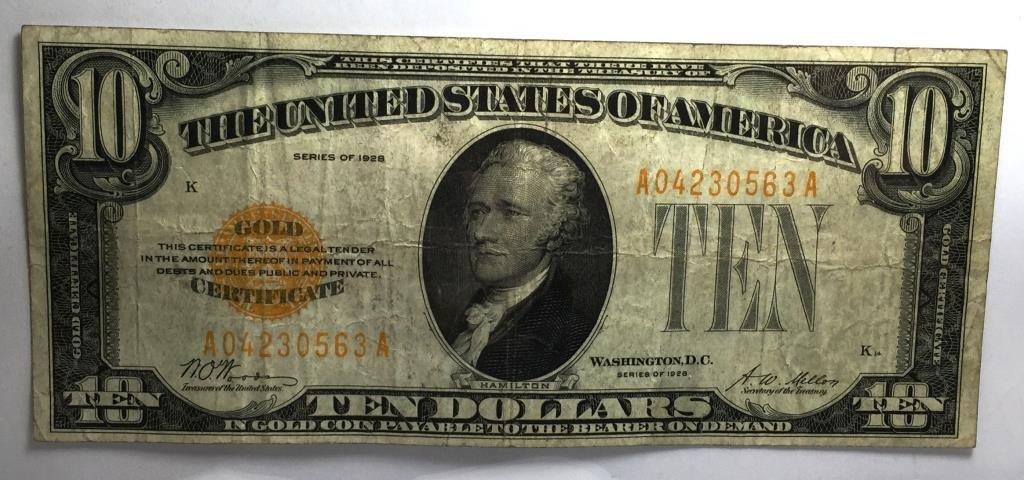 1928 $ 10 Gold Ceritifcate XF PLUS Grade