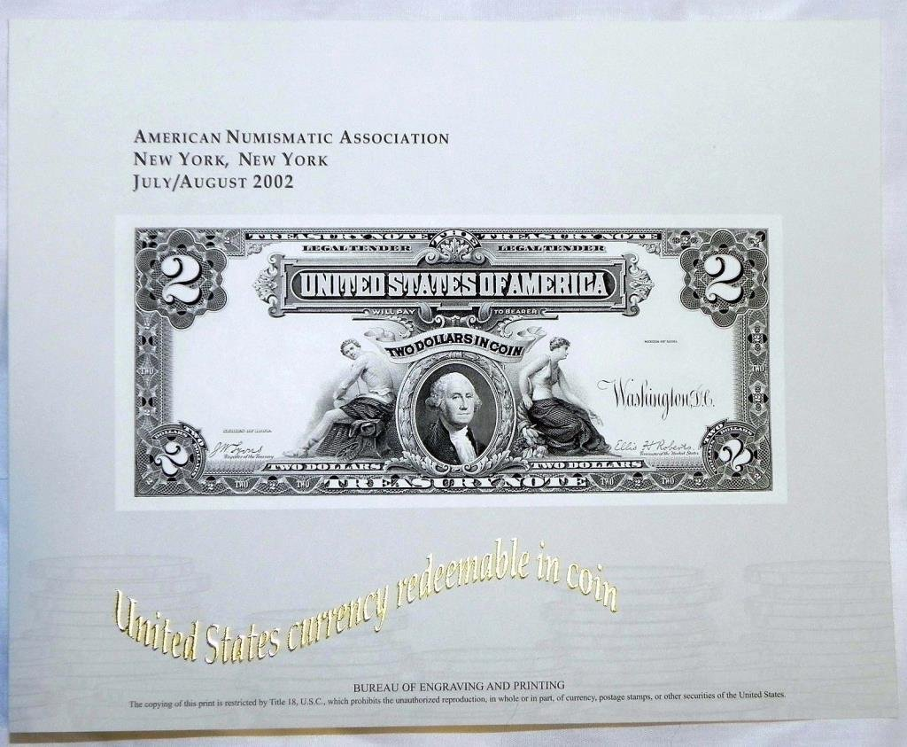 July Auguest 2002 ANA Show BOE Engraving $ 2 Note