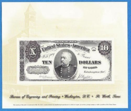 BOE Engraving $10 Gold Certificate Military Cameo
