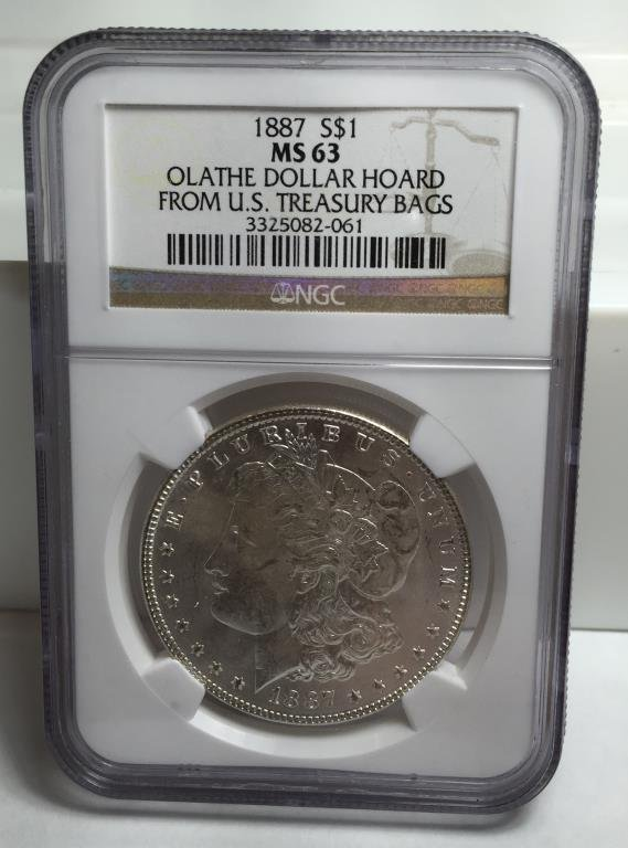 1887 MS 63 OLATHE HOARD Morgan Dollar