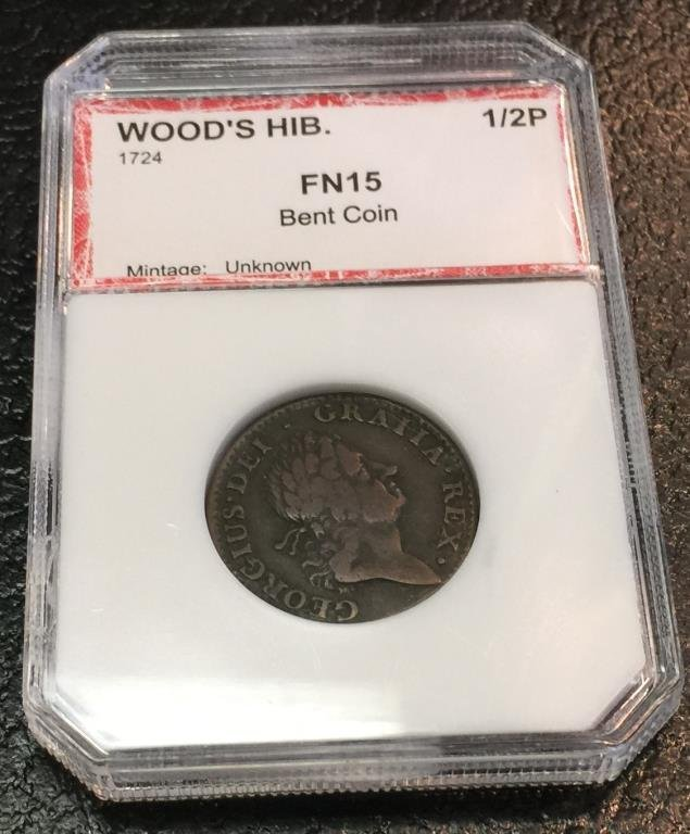 1724 Woods Hibernia Half Cent FN 15