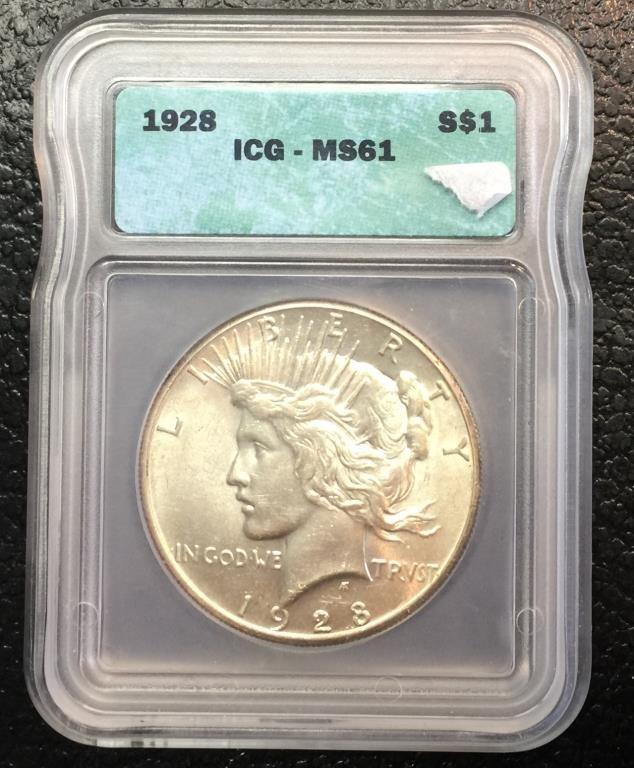 1928 P KEY DATE MS 61 ICG Peace Dollar