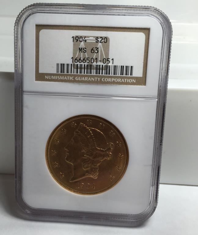 1904 MS 62 $ 20 Gold Liberty NGC
