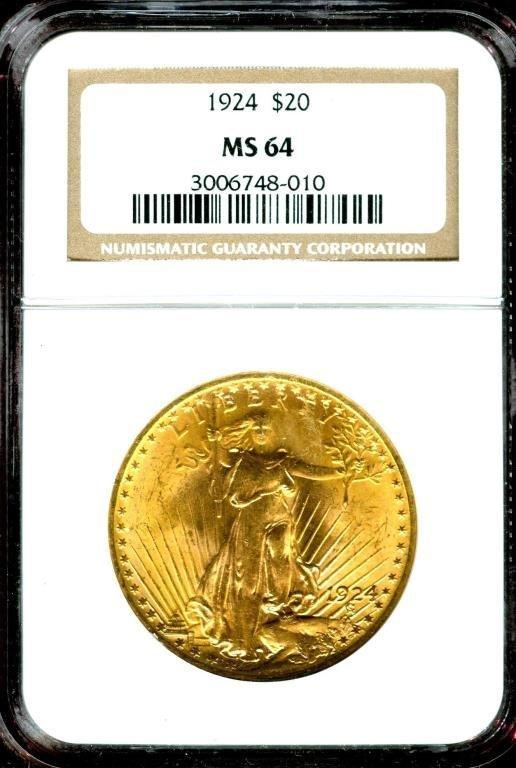 1925 MS 64 NGC $20 Saint Gauden's Gold