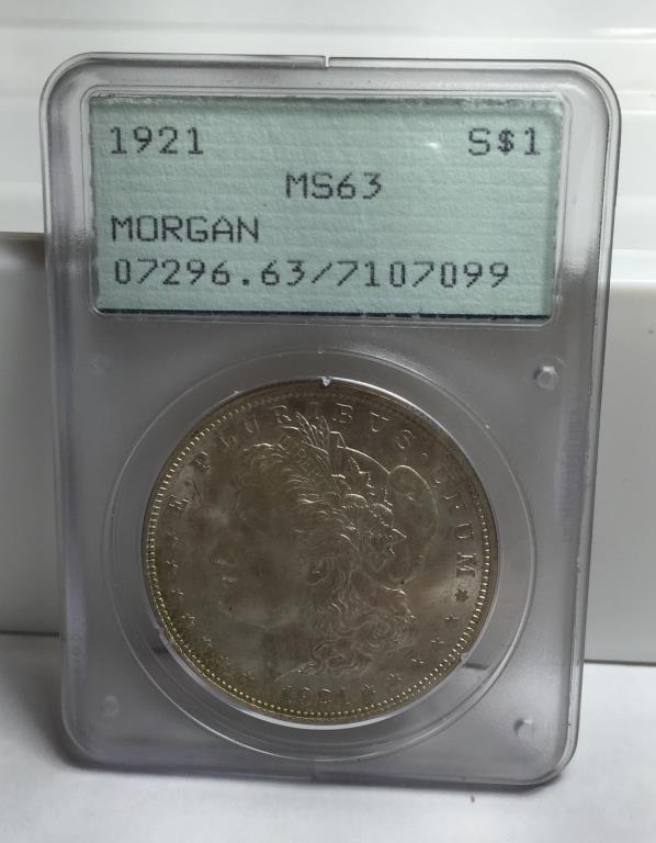 1921 MS 63 PCGS Old Green Rattler Morgan