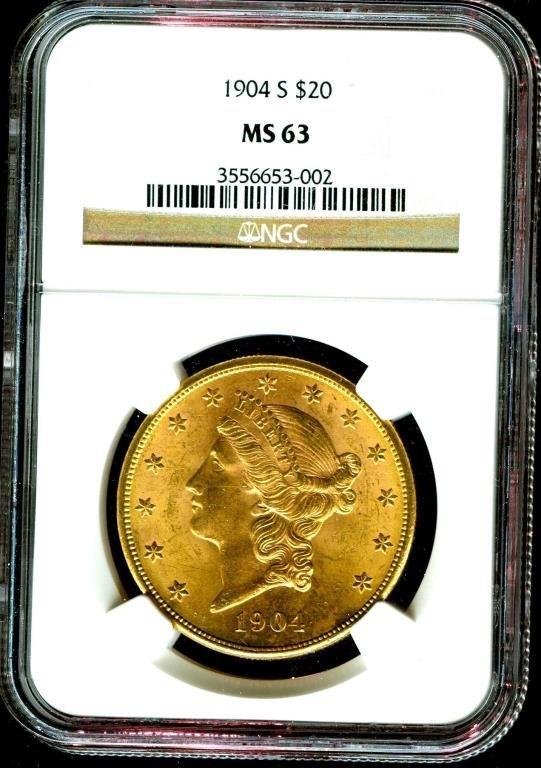 1904 s MS 63 $ 20 Gold Liberty