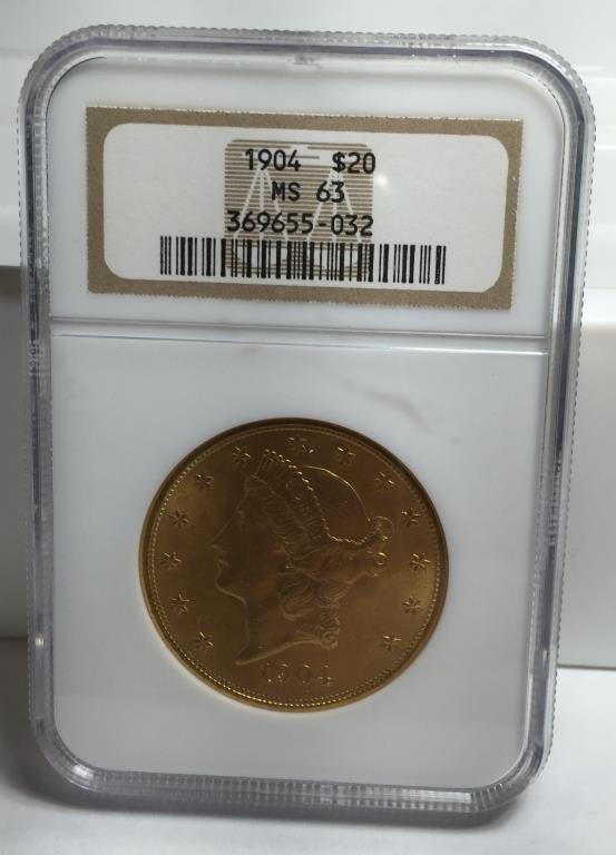 1904 MS 62 NGC $ 20 Gold Liberty