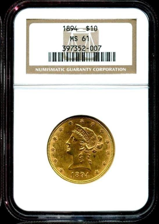 1894 MS 61 $ 10 Gold Liberty Eagle NGC