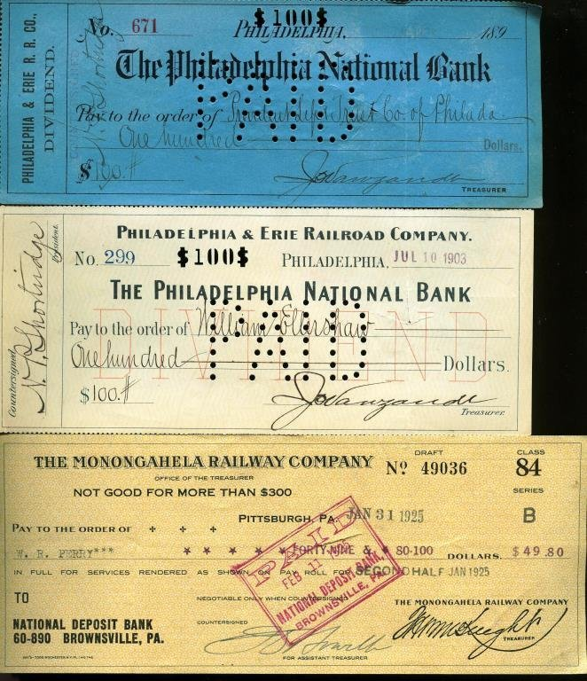 Lot of (3) Early Date Railraod Dividend CHecks