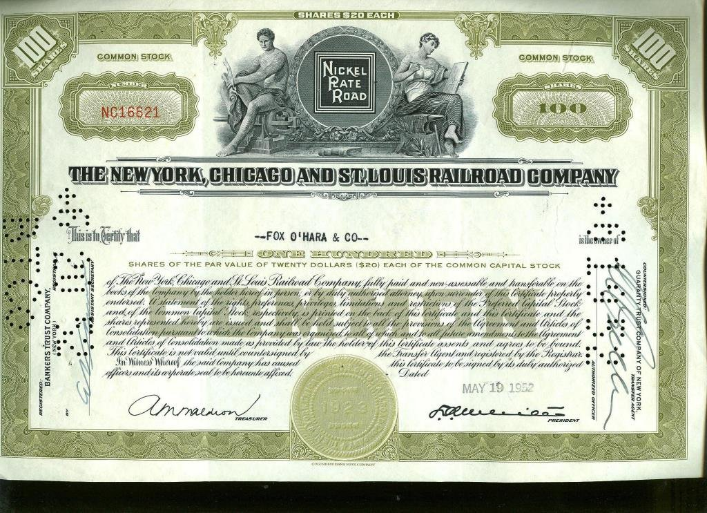 NY,Chicago & St. Louis Railroad Stock Certificate
