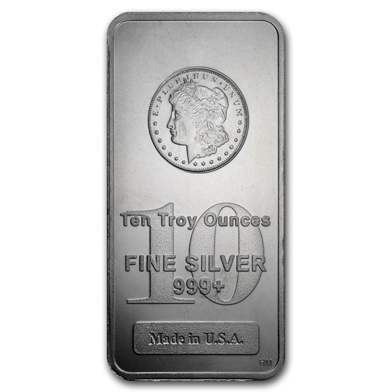 10 oz. Silver Bar Morgan Design