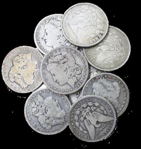 Lot of (10) Morgan Silver Dollars Random Dates