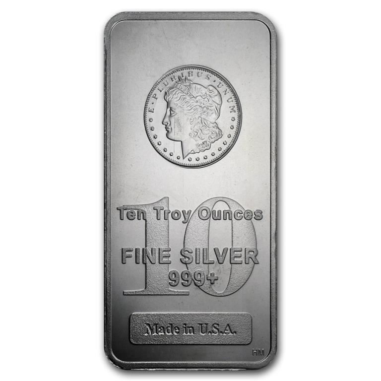 10 oz. Silver Bar Morgan Design
