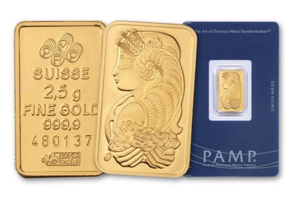 2.5 Gram Pure Gold PAMP SUISSE INGOT