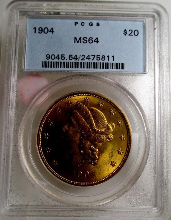 1904 MS 64 PCGS $ 20 Gold Liberty Double Eagle