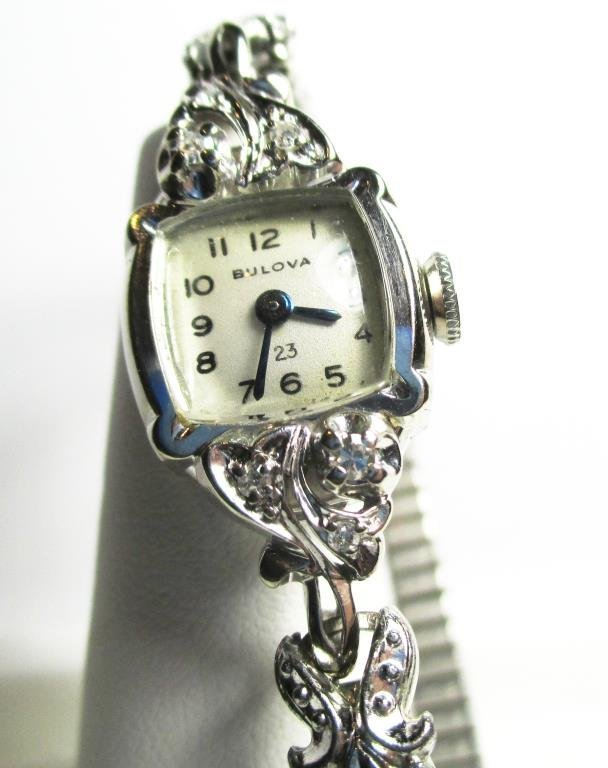 14k  Bulova Ladies Watch 23 Jewels- Diamonds