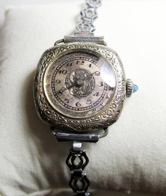 14k GF 17 Jewel Helbros Wristwatch Fancy Sapphire