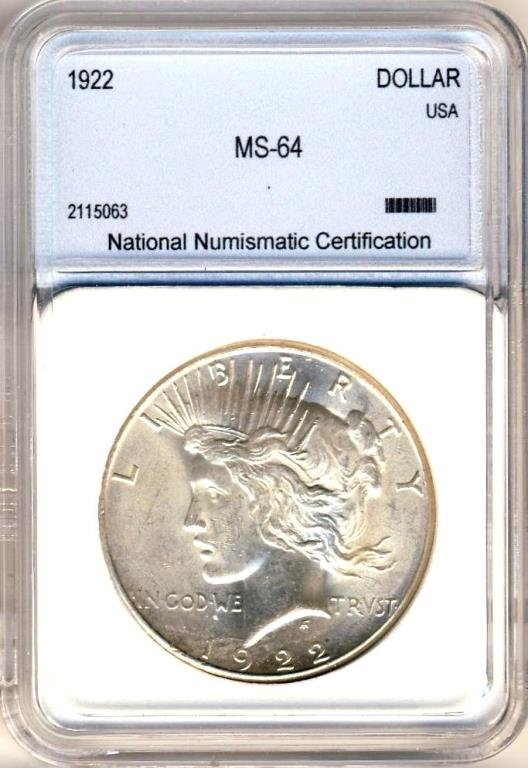 1922  S Mint MS 64 ANI Peace Dollar