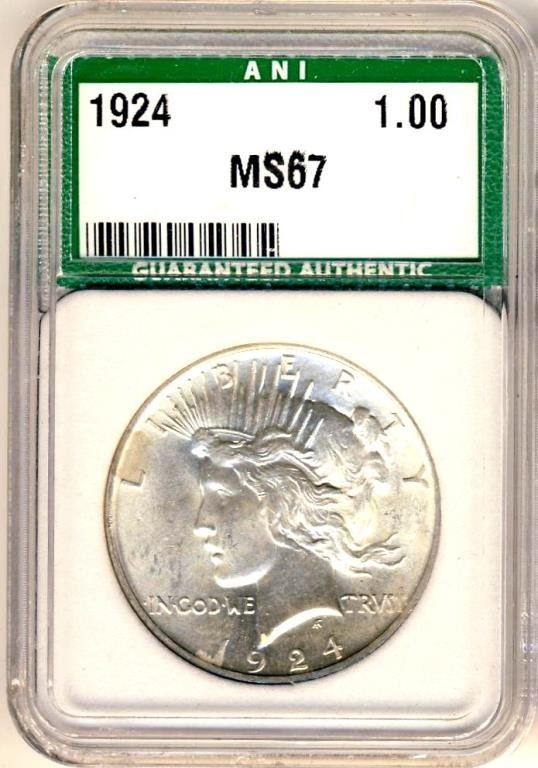 1924 MS 67 ANI Peace Dollar High Grade $7,200