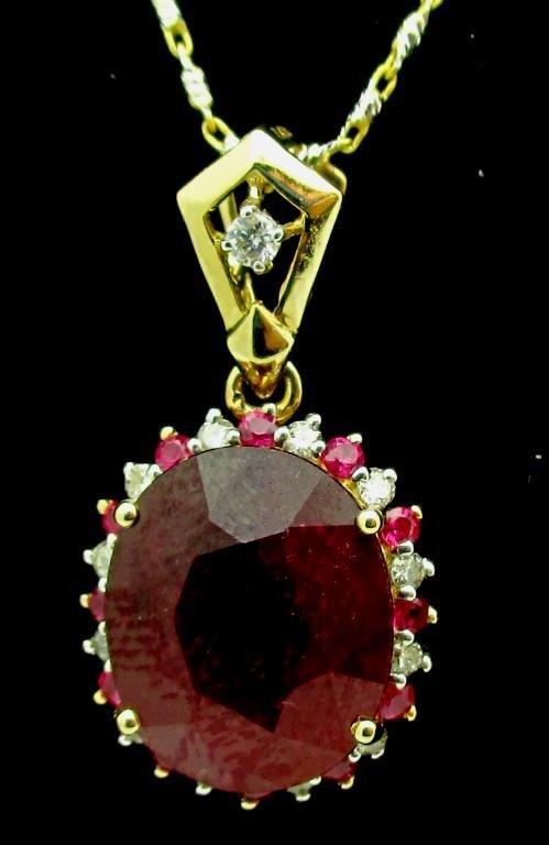 $3,132 GG GIA APP. Ruby & Diamond Pendant