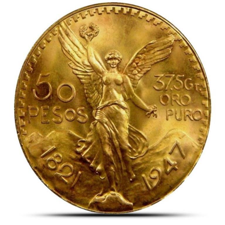 1947 Mexican 50 Peso - 37.5 Grams Over 1 Oz.