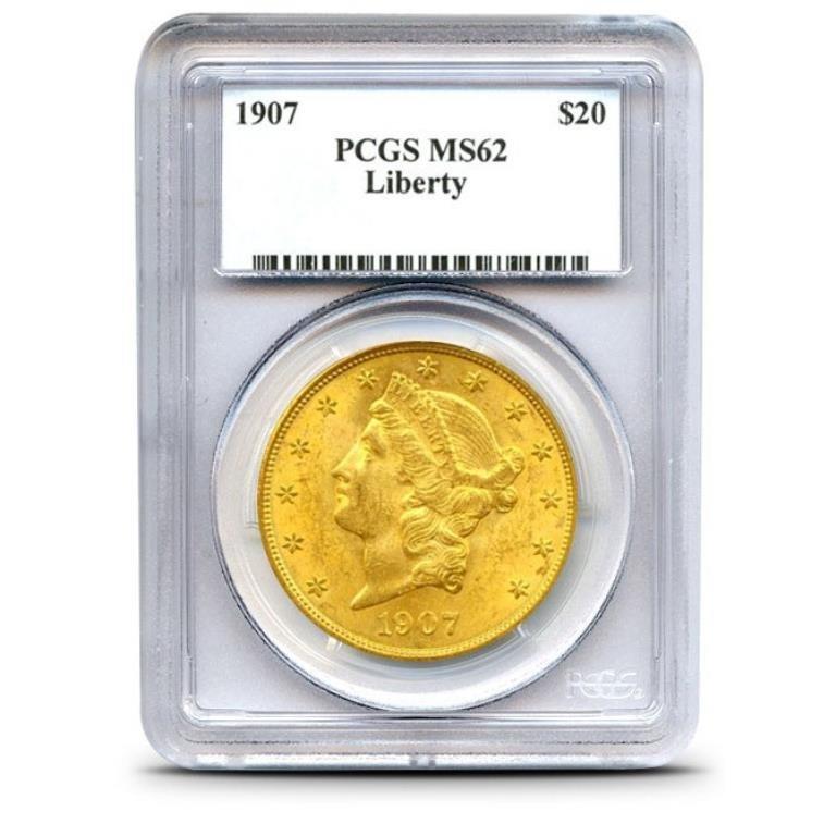 1907 MS 62 $ 20 Gold Liberty