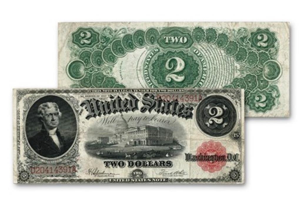 1917 $ 2 Jefferson Note Legal Tender Bracelet Note
