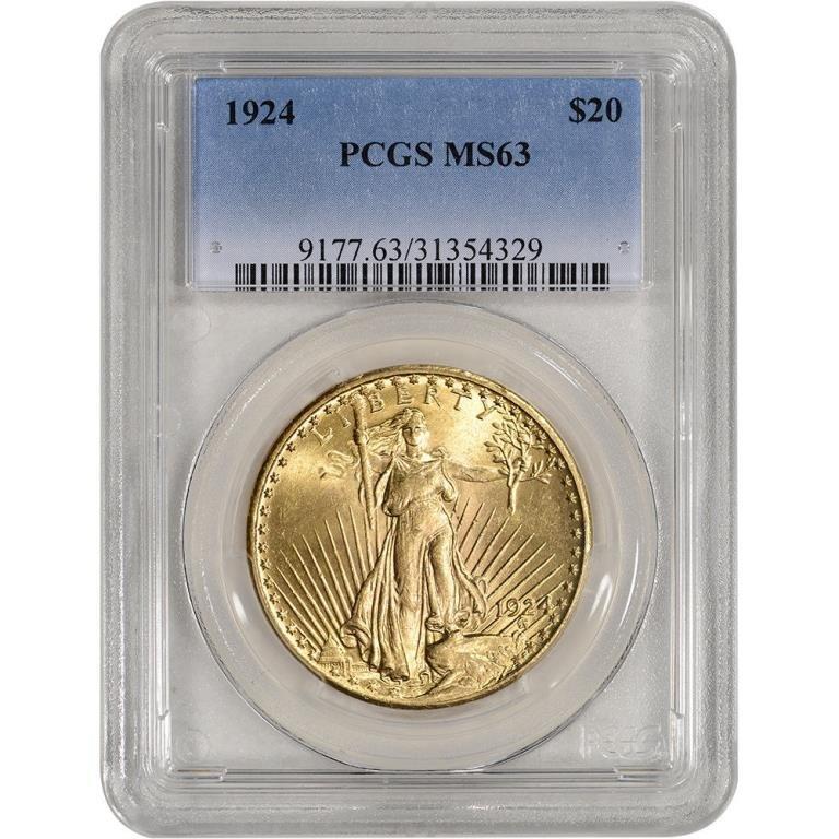 1924 MS 63 $ 20 Gold Saint Gauden's PCGS