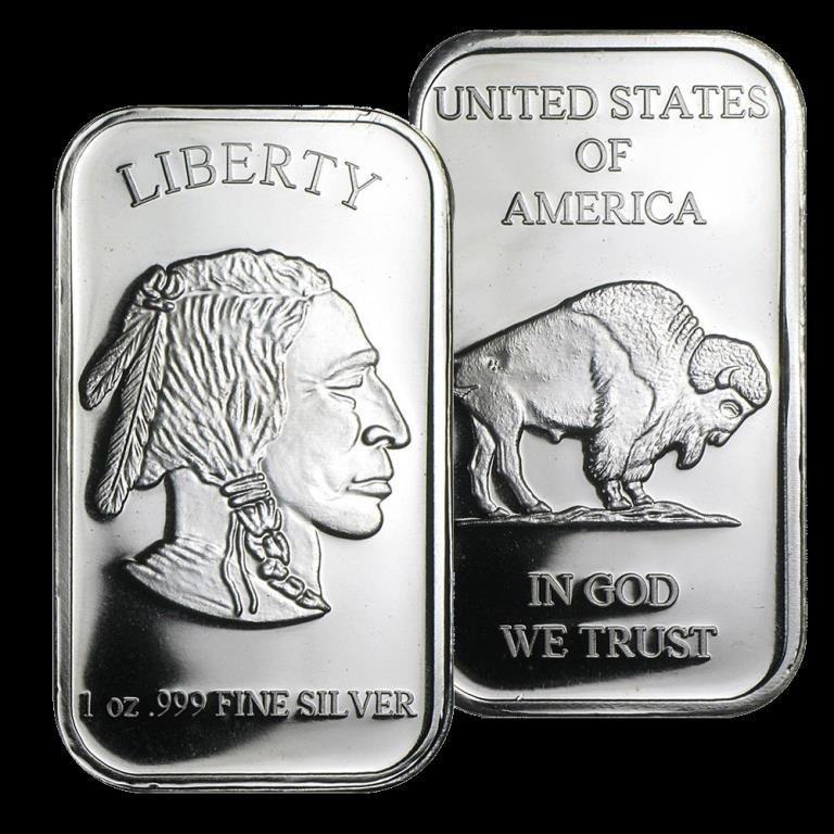1 troy ounce Silver Buffalo Design Bar