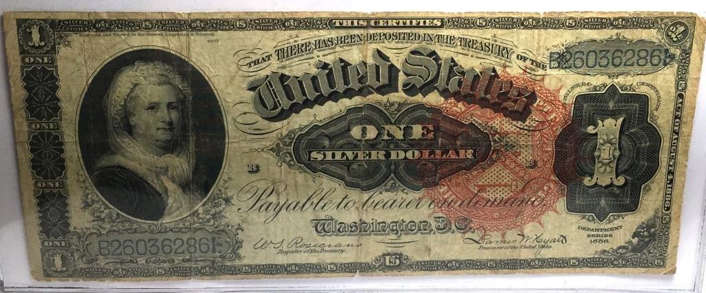 1886 Silver Certificate RARE and FIne $1 Martha W.