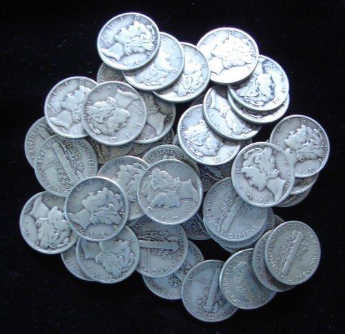 Lot of 50 Mercury Dimes