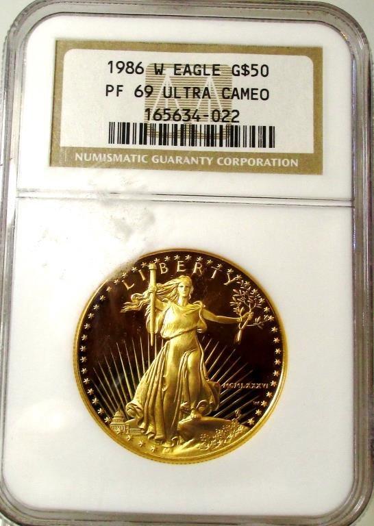 1986 W PRF ULTRA CAM 69 NGC $50 Gold Eagle