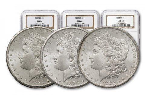 1882-83-84 MS 64 NGC Morgan Silver Dollars