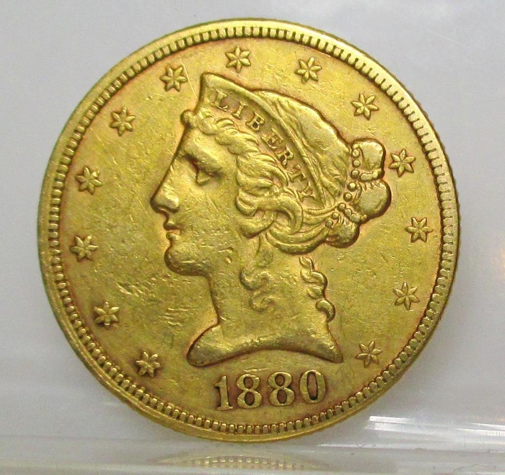 1880 P $5 Gold Liberty Half Eagle