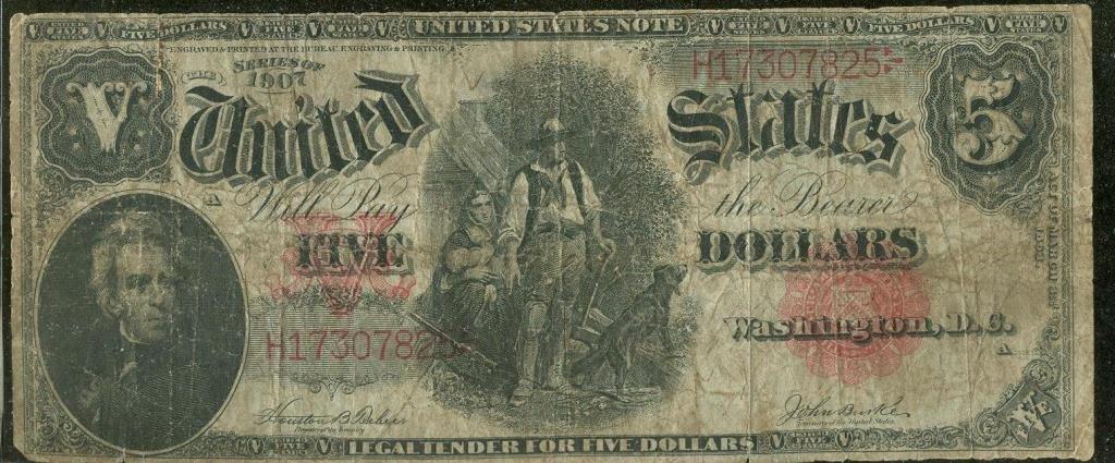 "1907 $ 5 ""Woodchopper"" US Note"