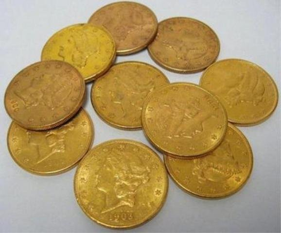 Lot of (10) $ 20 Gold Liberty Double Eagles Mixed
