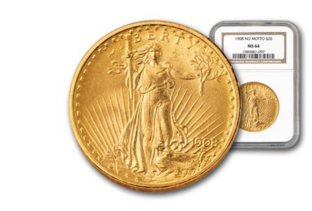 1908 NO MOTTO MS 64 NGC $ 20 Saint Gauden's