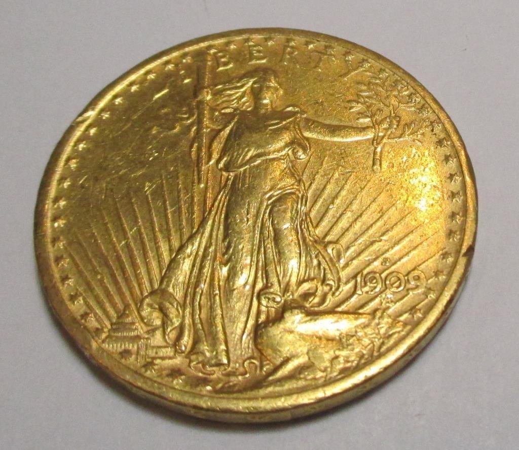 1909 S $ 20 Gold Saint Gauden's Double Eagle