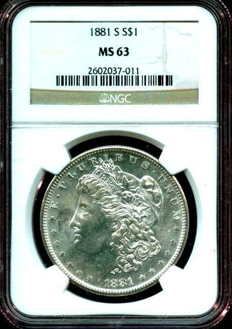1881 s MS 63 NGC Morgan Silver Dollar