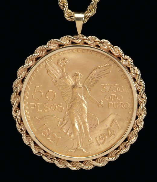 50 Peso Gold Coin and 14k Rope Bezel and Chain