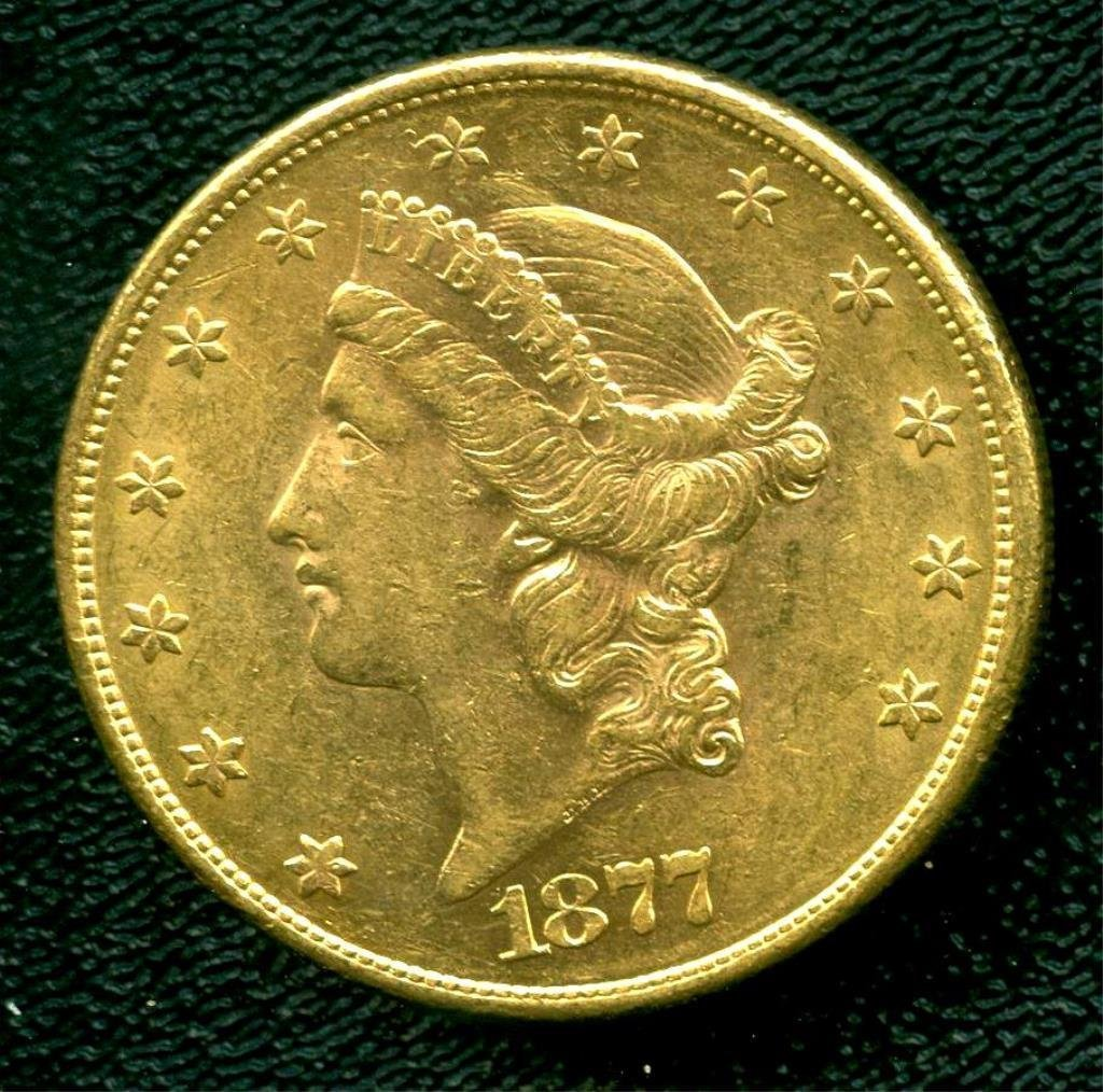 1877 P $ 20 Liberty  US Double Eagle Gold Coin