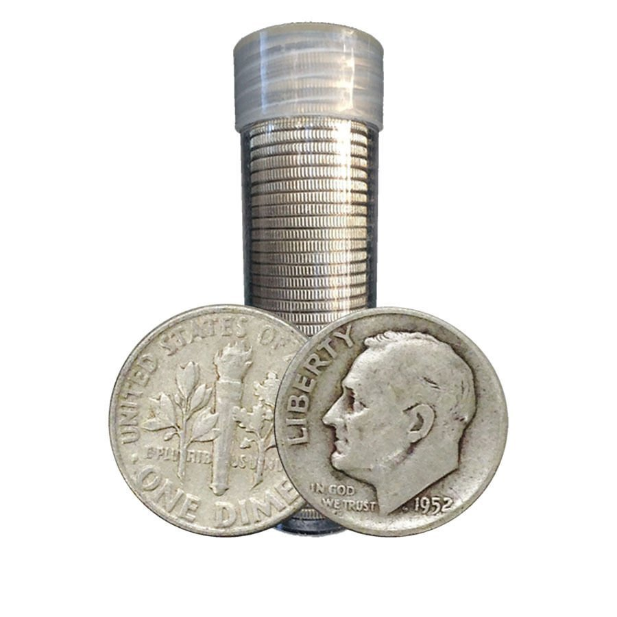 (50) Roosevelt 90% Silver Dimes in Roll