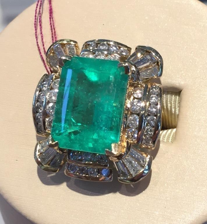 $18,000 App. Emerald & Diamond Ring 18k YG