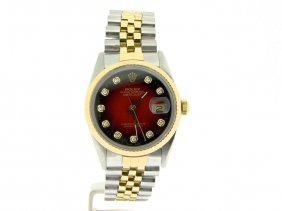 Rolex 2tone 18k Gold/ss Datejust W/ Red Dial!!