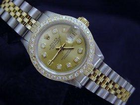 Ladie's Rolex 18k/ss With Diamonds Watch