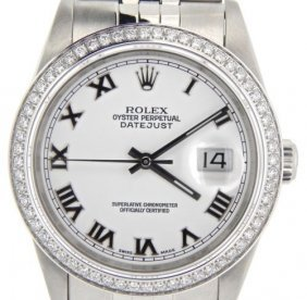 Rolex Stainless Steel Datejust W/white Roman Dial