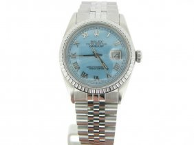 Rolex Stainless Steel Datejust Watch W/blue Mop