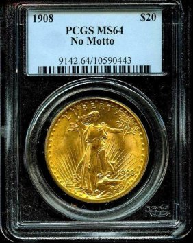 1908 Ms 64 Pcgs $ 20 Saint Gaudens/ Nm