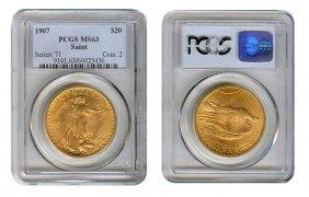 1907 Ms 63 Pcgs $ 20 Saint Gauden's